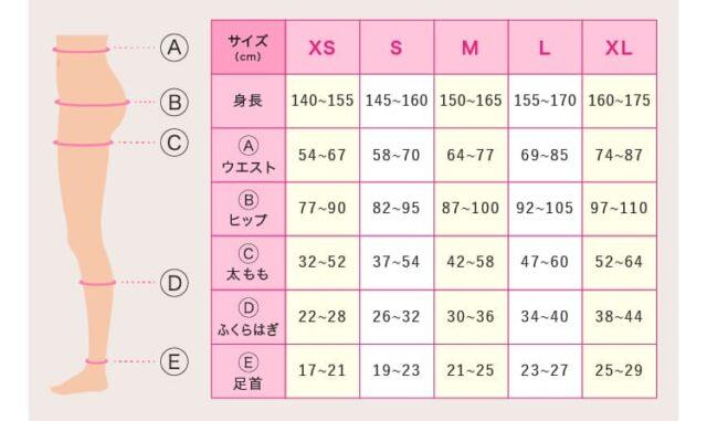ベルスキニーサイズ表